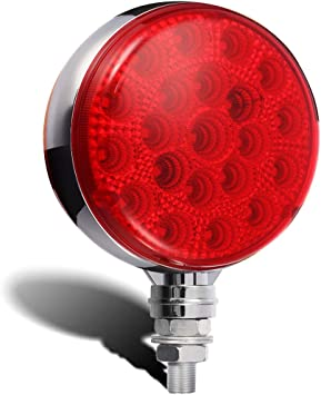 Red Incandescent Round Stop Turn Tail Lights //Reflective Design// 5 inch Diameter