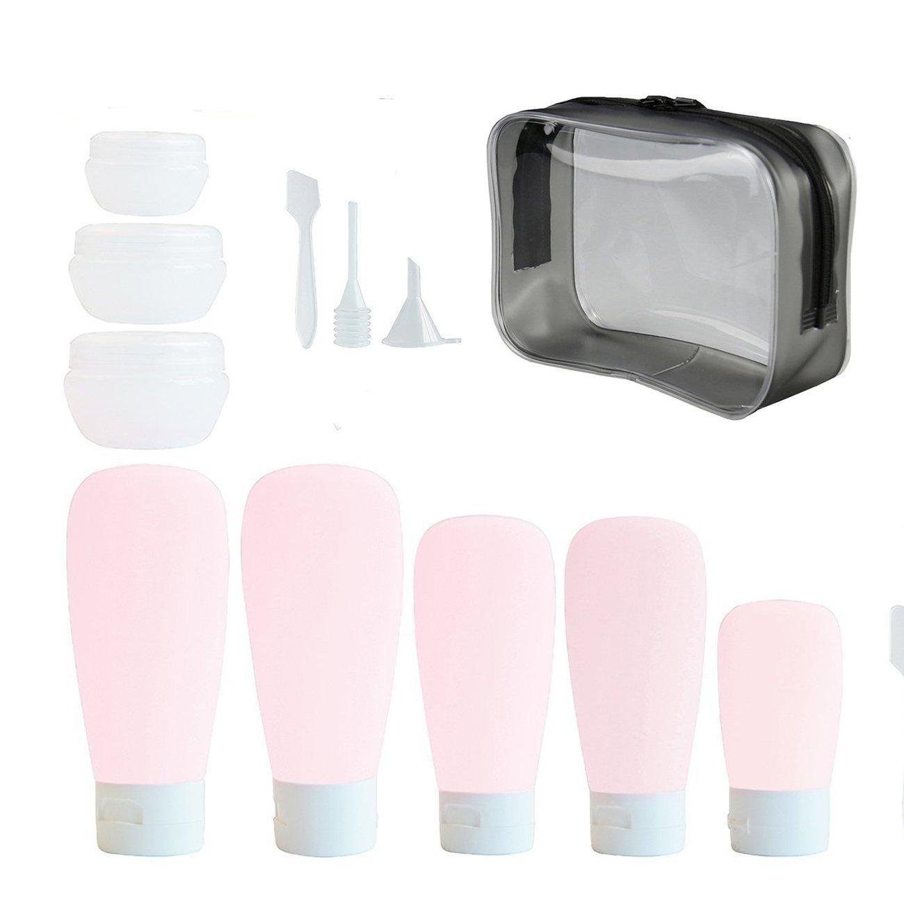 Beschan 14pcs Flacons de Voyage Container Bouteille Kit de Voyage Pot de Crème Vide Trousse de Toilette Rechargeable Anti-Fuite Blanc UMLA000421