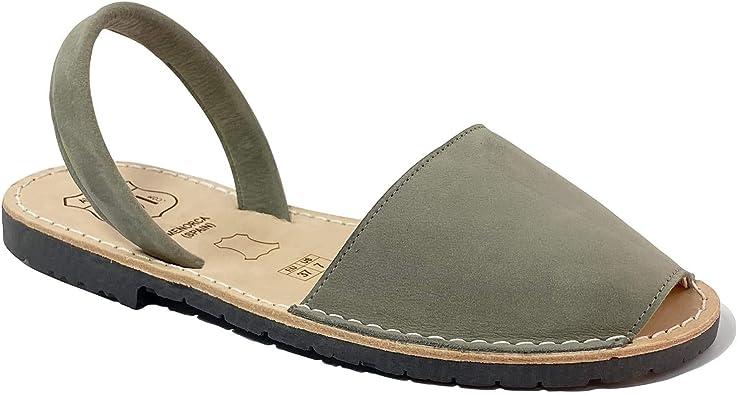 AVARCAS 101 Sandalias planas de piel para mujer, zapatos atemporales, hechas por artesanos en España, Gris (gris), 35 EU: Amazon.es: Zapatos y complementos