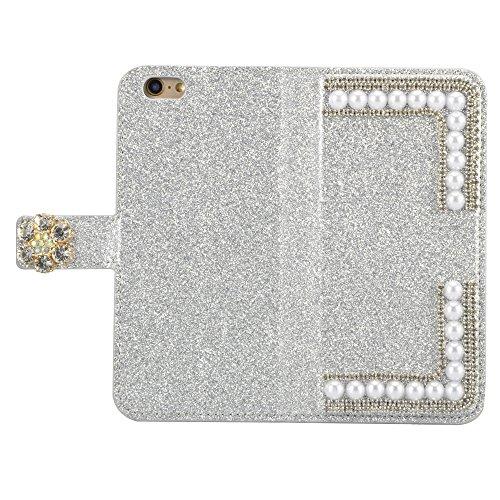 para iPhone 6s Wallet Phone Case, Vandot Premium PU Cuero Caja del Teléfono de la Carpeta con Desmontable TPU Bumper Phone Shell y Ranuras Tarjeta de Crédito y Makeup Mirror Multifuncional Mano Bolsa  ZPT 33