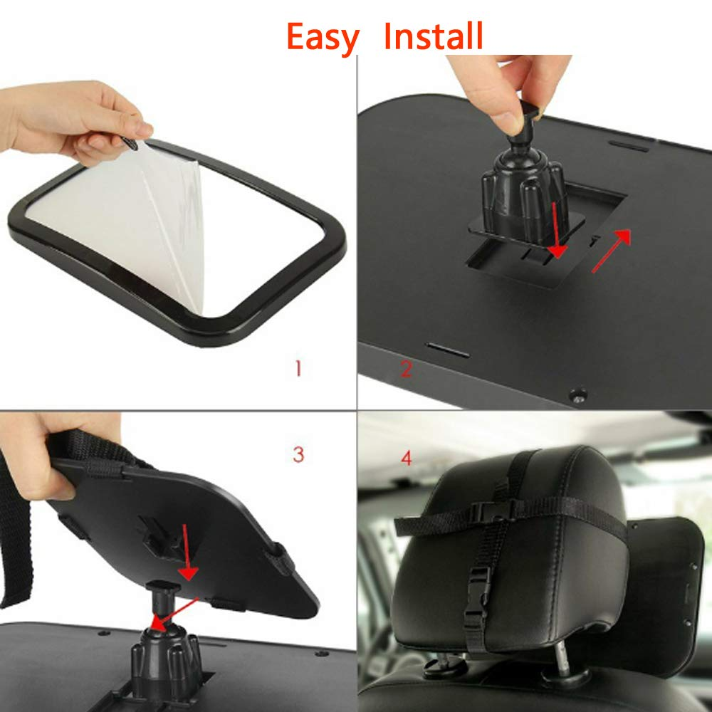 Amazon.com: Espejo de coche para bebé, ajuste de 360 grados ...
