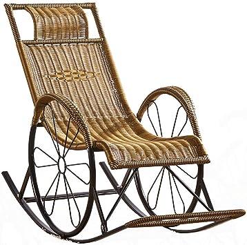 Mnjin Sillas de jardín Informales y cómodas, sillón de Mimbre, sofá Mecedora de Mimbre, sillón Relajante, Estructura de Metal con cojín de Almohada Lumbar, Patio de jardín, terraza, terraza, jardí: Amazon.es: Deportes