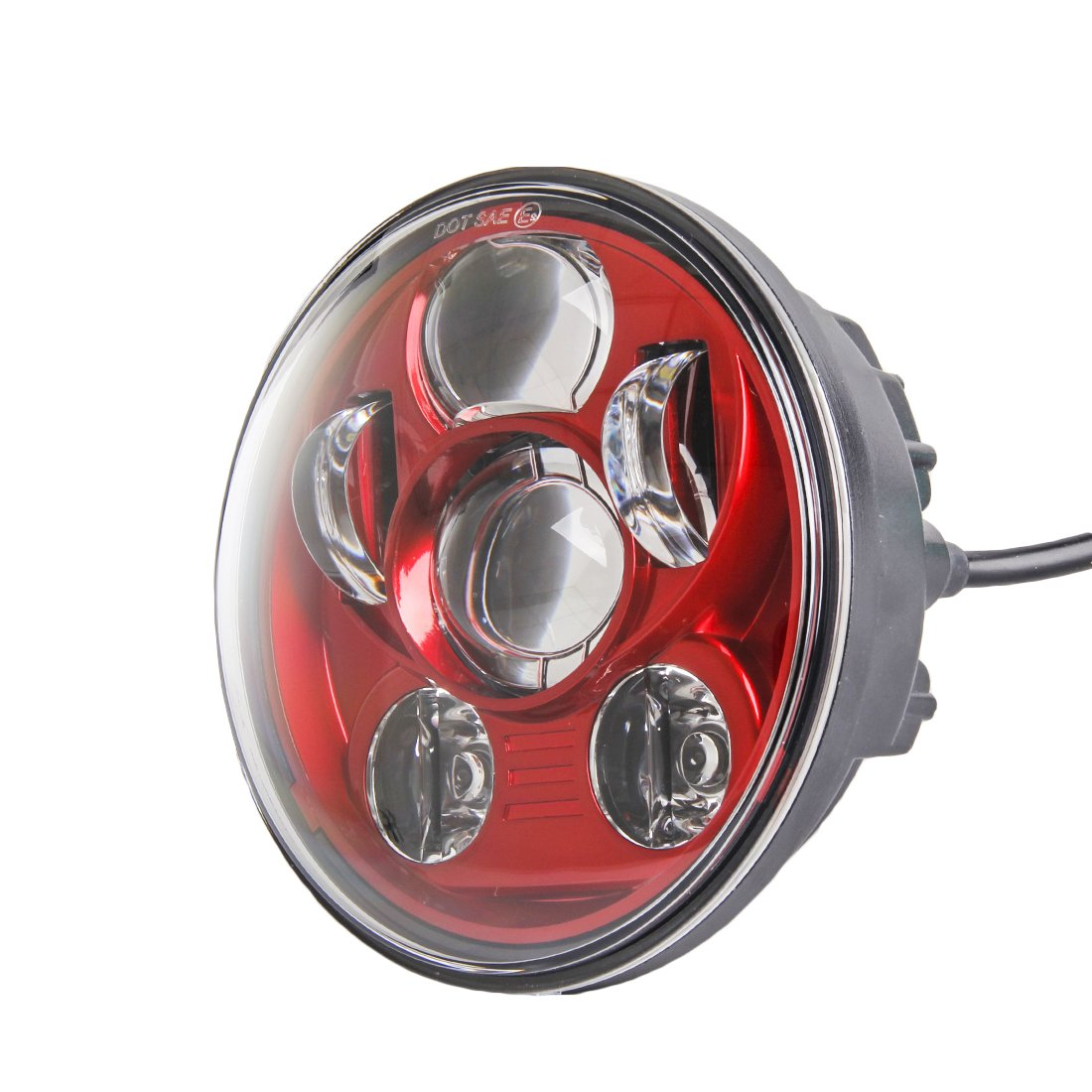 SKTYANTS Red 5-3/4 5 75 inch Motorcycle Projector LED