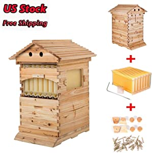 OUKANING Beekeeping Wooden House Beehive Boxes Max 7Pcs Auto Beehive Frame Comb Bee Hive Boxes for Beekeepers Food Grade BPA Updated Auto Honey Frames Cedarwood Brood House Box Supplies