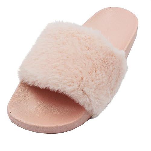 LAVRA Women s Faux Fur Slide Slip Peach Sandals 5 B(M) US 1786a02e90