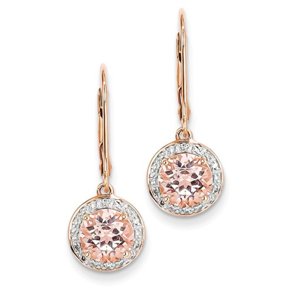 Roxx Fine Jewelry™ Diamond and Morganite Halo Drop Earrings 2.49 Ct. TCW