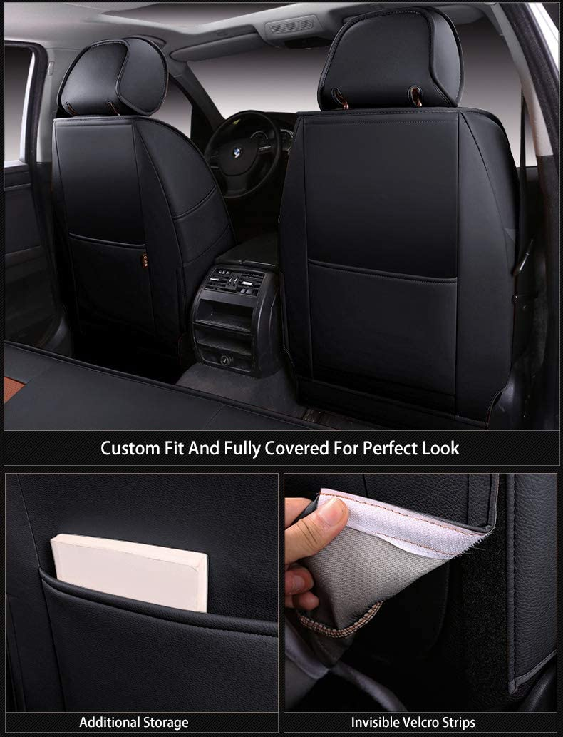 X Custom Exact Fit PU Leather Seat Covers Accessories Full Set OASIS AUTO Jeep Wrangler JK 2007 2008 2009 2010 Unlimited 4DR, Black Sahara Sport