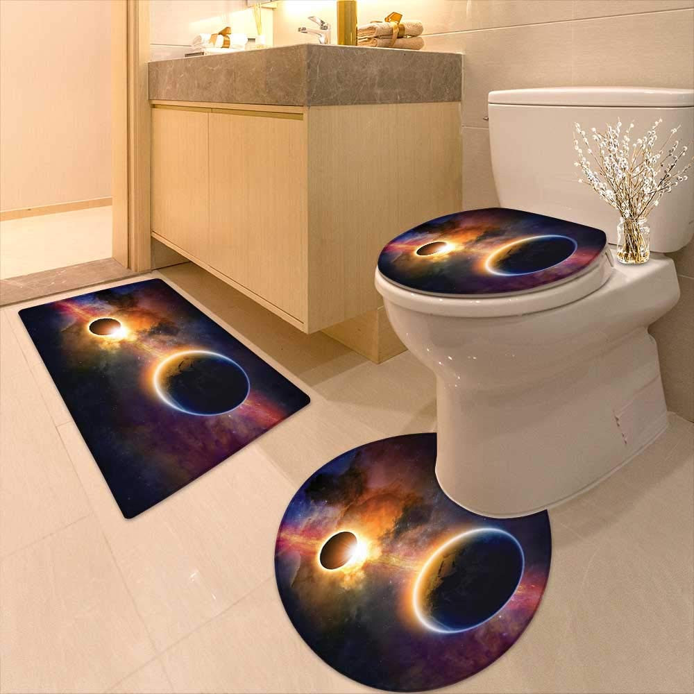 Printsonne 3 Piece Toilet mat Set Decor Planet in Milky Way Dark Nebula Gas Cloud Celestial Solar Eclipse Galaxy 3 Piece Shower Mat Set