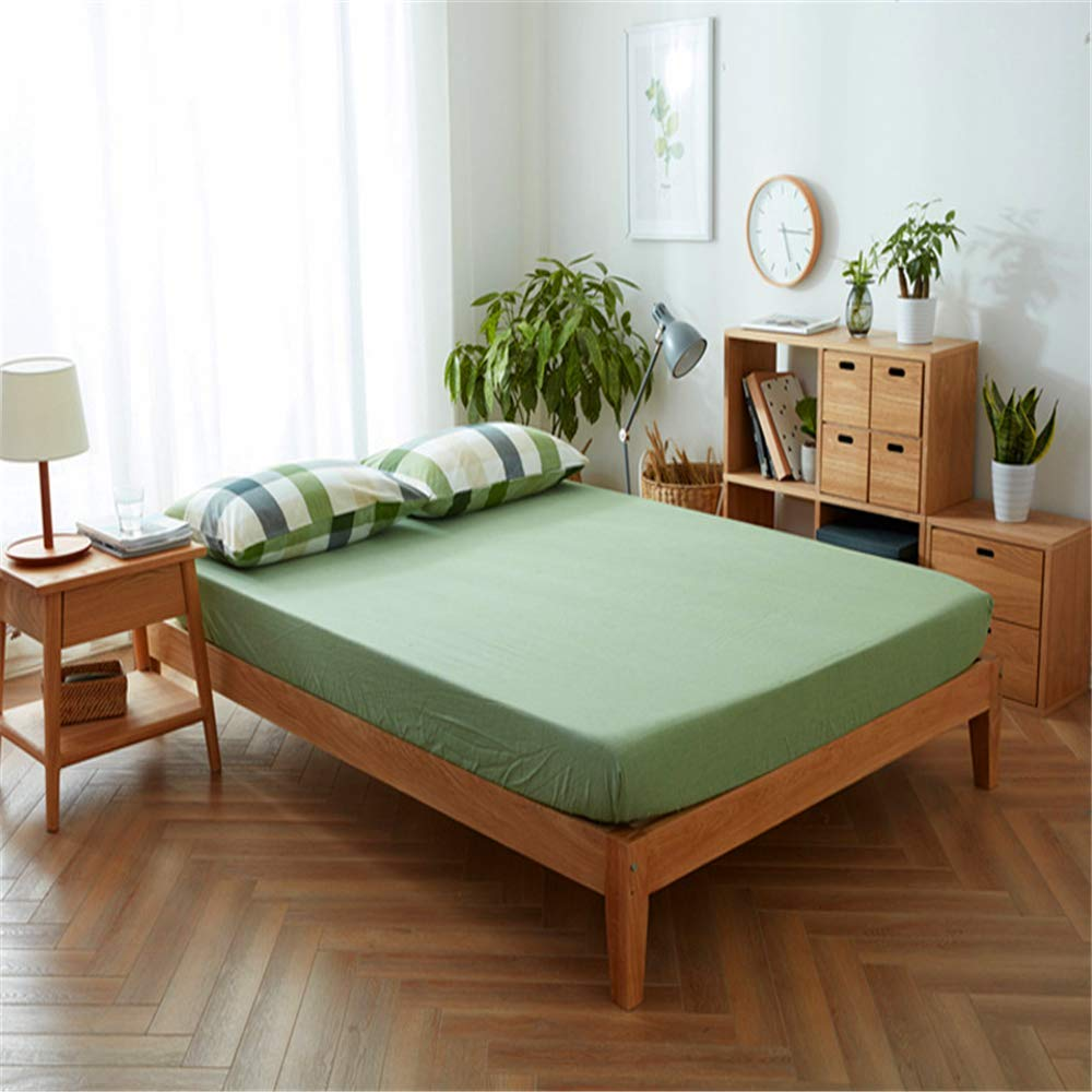 Plain Fresh Washed Cotton Sheets European Style Simple and Beautiful Skin-Friendly Fruit Green 160240cm by iangbaoyo