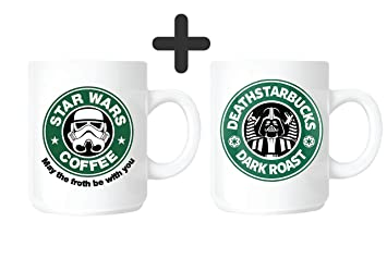 "3c2d2a53ccb acen ""Star Wars May the Froth Be With You und deathstarbucks 2 x neue"