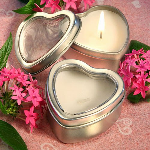 150 Light For Love Collection Heart Candle Favor Tins