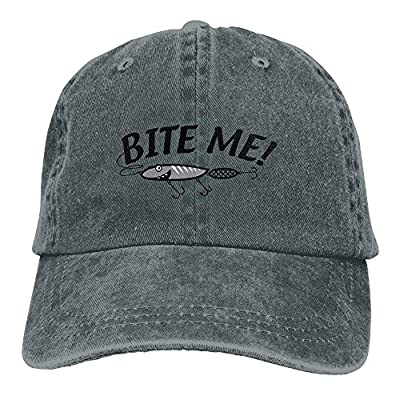 Bite Me Fishing Lure Snapback Casual Baseball Hat Denim Hat for Men and Women Ajustable from FK-XQ