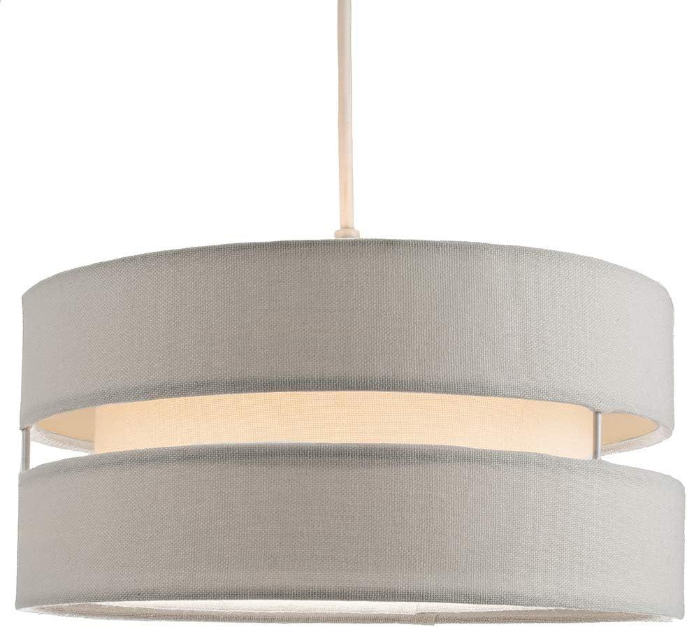 60w Maximum Designer Style 26cm Diameter by Happy Homewares Contemporary Quality Cream Linen Fabric Triple Tier Ceiling Pendant Light Shade