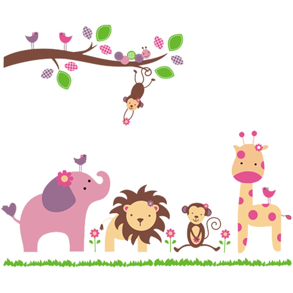 Nursery Wall Sticker Decals for Boys and Girls Children's Wall D¨¦cor Art Sticker Zoo Wall Decals