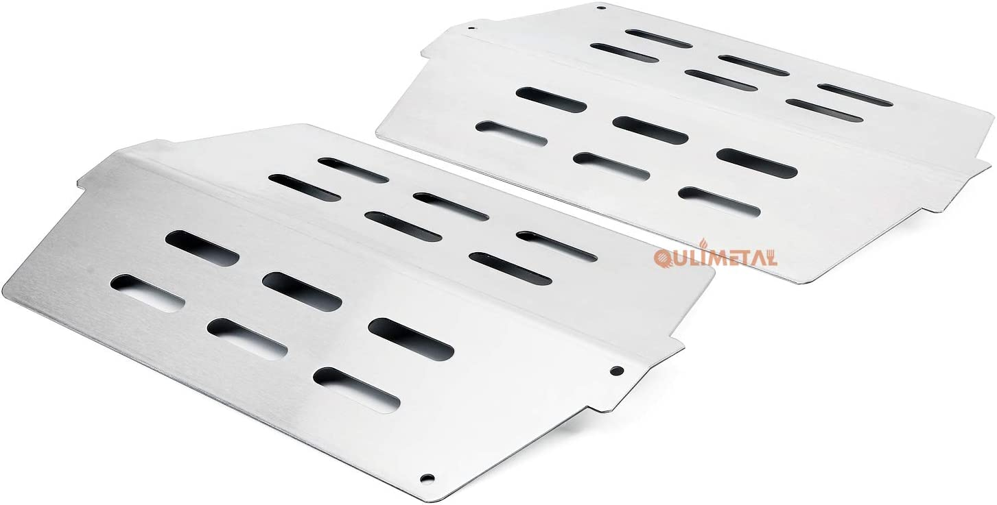 QuliMetal 7622 Heat Deflector for Weber Genesis 300 Series, Genesis E310 E320 E330 S310 S320 S330 Grill Parts with Front Control Knobs (2011 & Newer), Heat Shield Plate for Weber 65505 62756, 16 Gauge