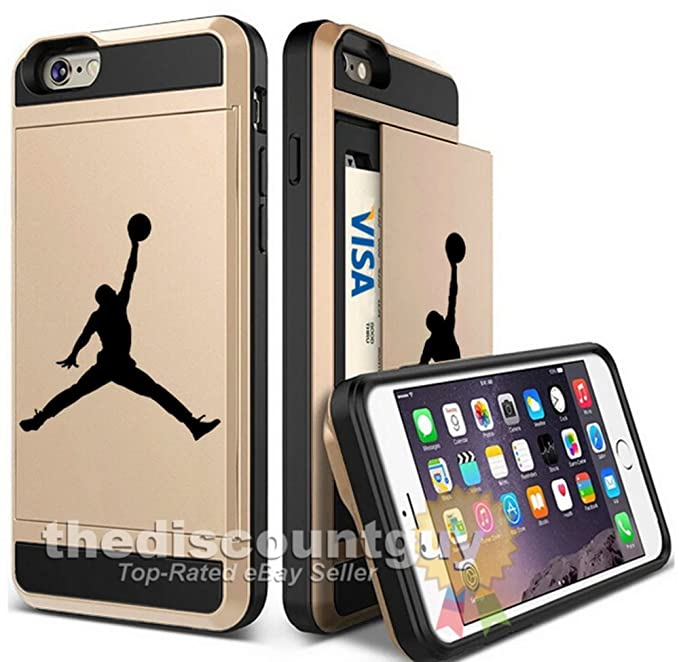 6ce430f63704b Apple iPhone 6/6S Plus - Dual-Layered Credit Card ID Storage Basketball  Case Michael Jordan Store Money Cash Slide Wallet Jumpman Air Protective  Cover ...