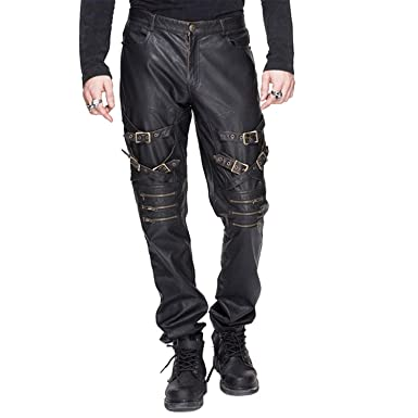 Amazon Com Devil Fashion Steampunk Men Leather Pants Punk Rock