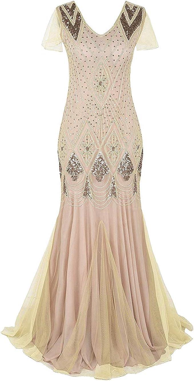 FYMNSI Damen 11er Jahre Gatsby Flapper Kleid Jahrgang