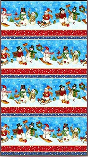 Northcott 'Winter Magic' Happy Snowmen Christmas Stripes Cotton Fabric 44-45 Inches Wide ()