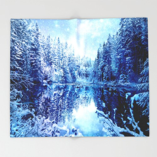 Society6 Blue Winter Wonderland : Forest Mirror Lake Throw Blankets 88'' x 104'' Blanket by Society6