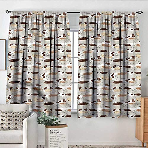Coffee,Kids Decor Patterned Drape Espresso Cappuccino Drink 42