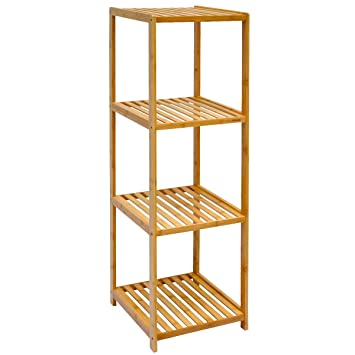 DuneDesign Bambus Holz Regal 38x39,5x124,5cm Badregal 4 Fächer Bad  Badezimmer Standregal