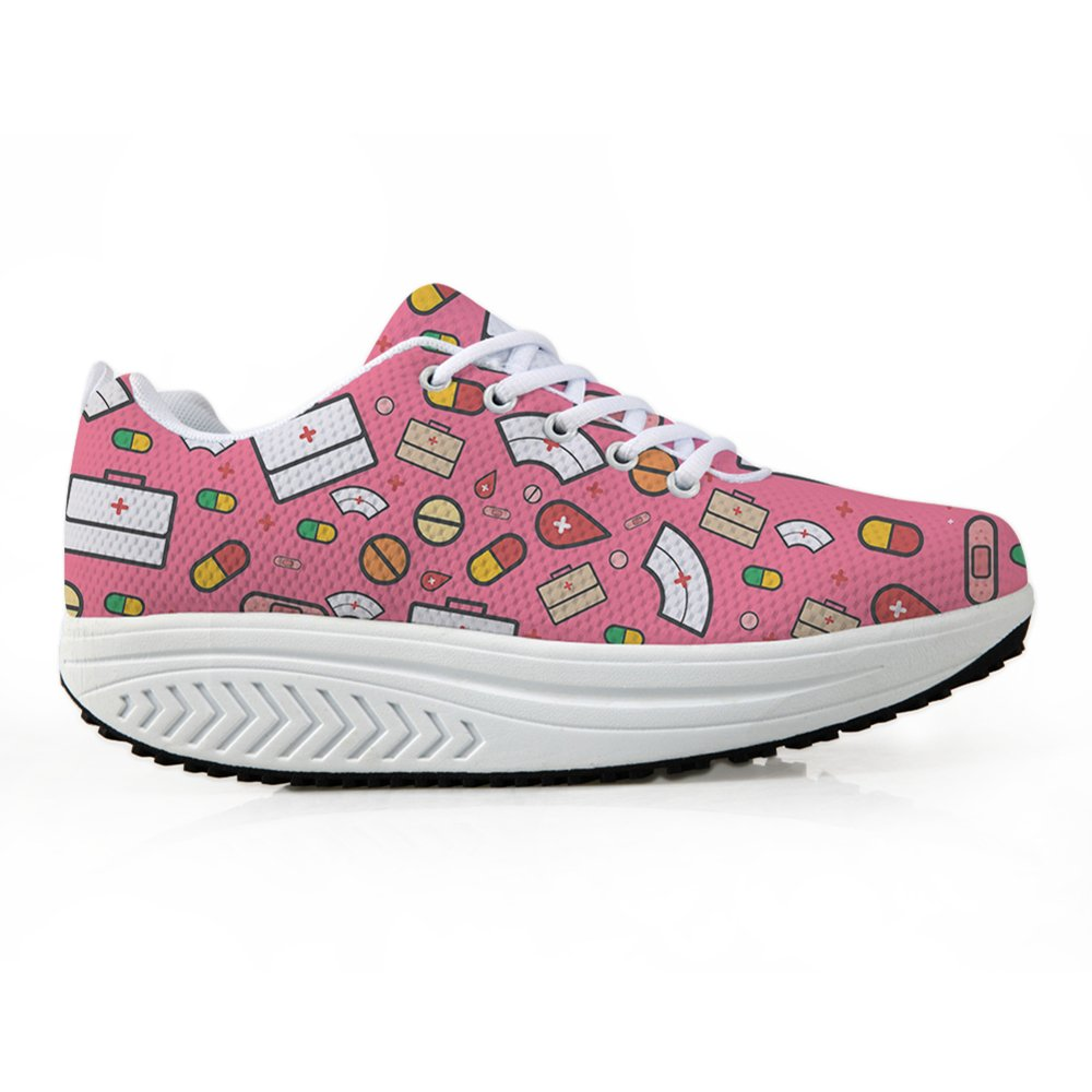 Bigcardesigns Fashion Fitness Walking Sneaker Casual Women Wedge Platform Shoes B0794X6SCJ Women's US 7 B(M)=EUR 38|Pink
