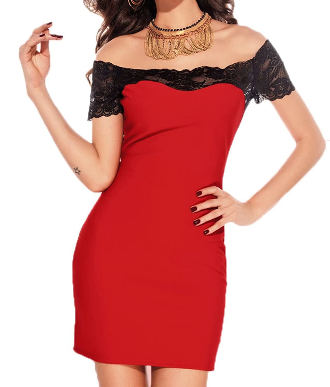 COSIVIA Megan off The Shoulder Lace Trim Bodycon Dress (Red)