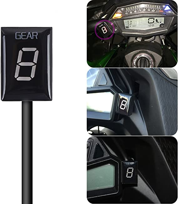 IDEA Waterproof Motorcycle Gear Indicator Plug /& Play LED Display for Kawasaki Rectangle, Green