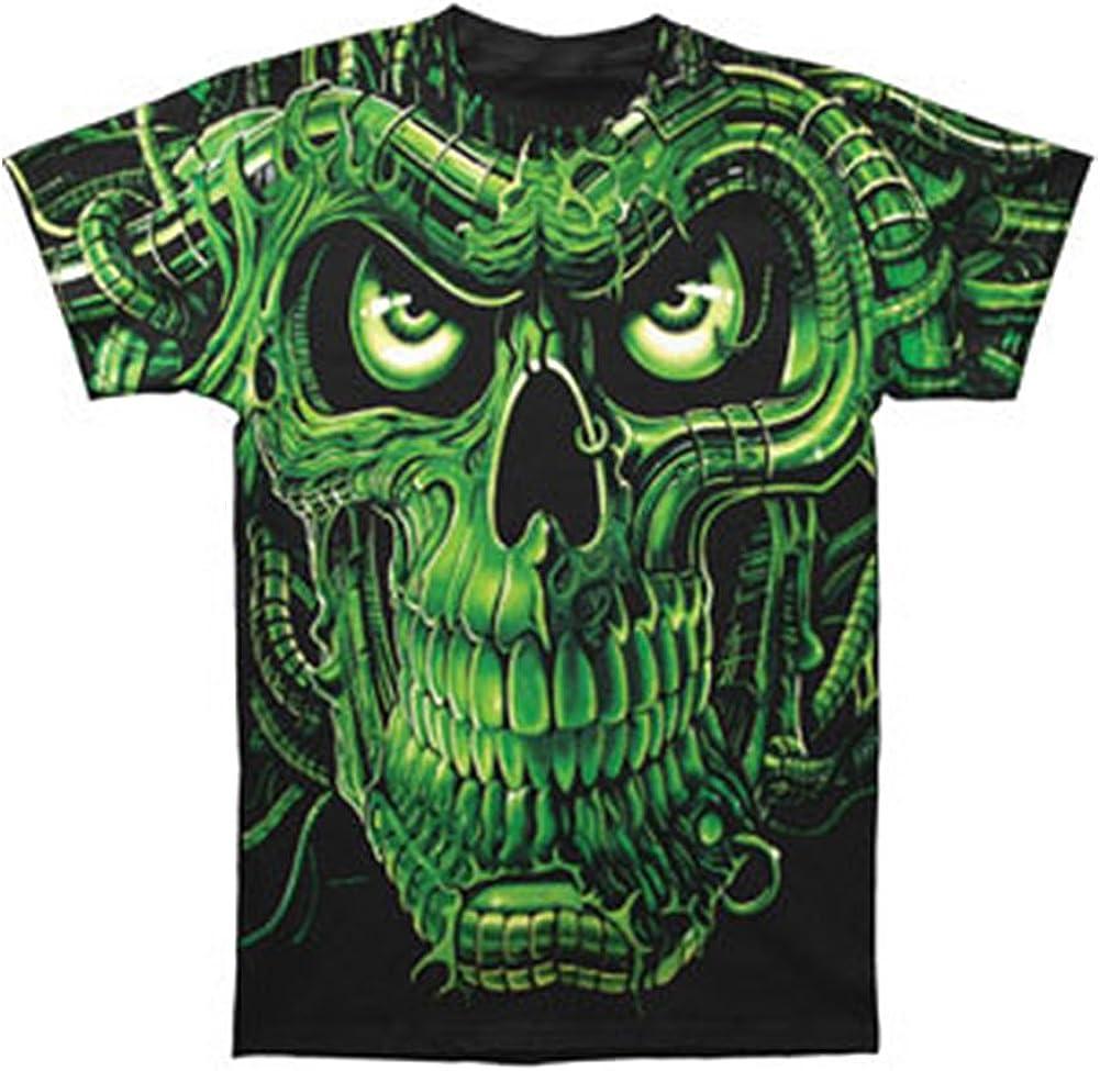 New Gothic Green Skeleton Glow In Dark Print Front N Back