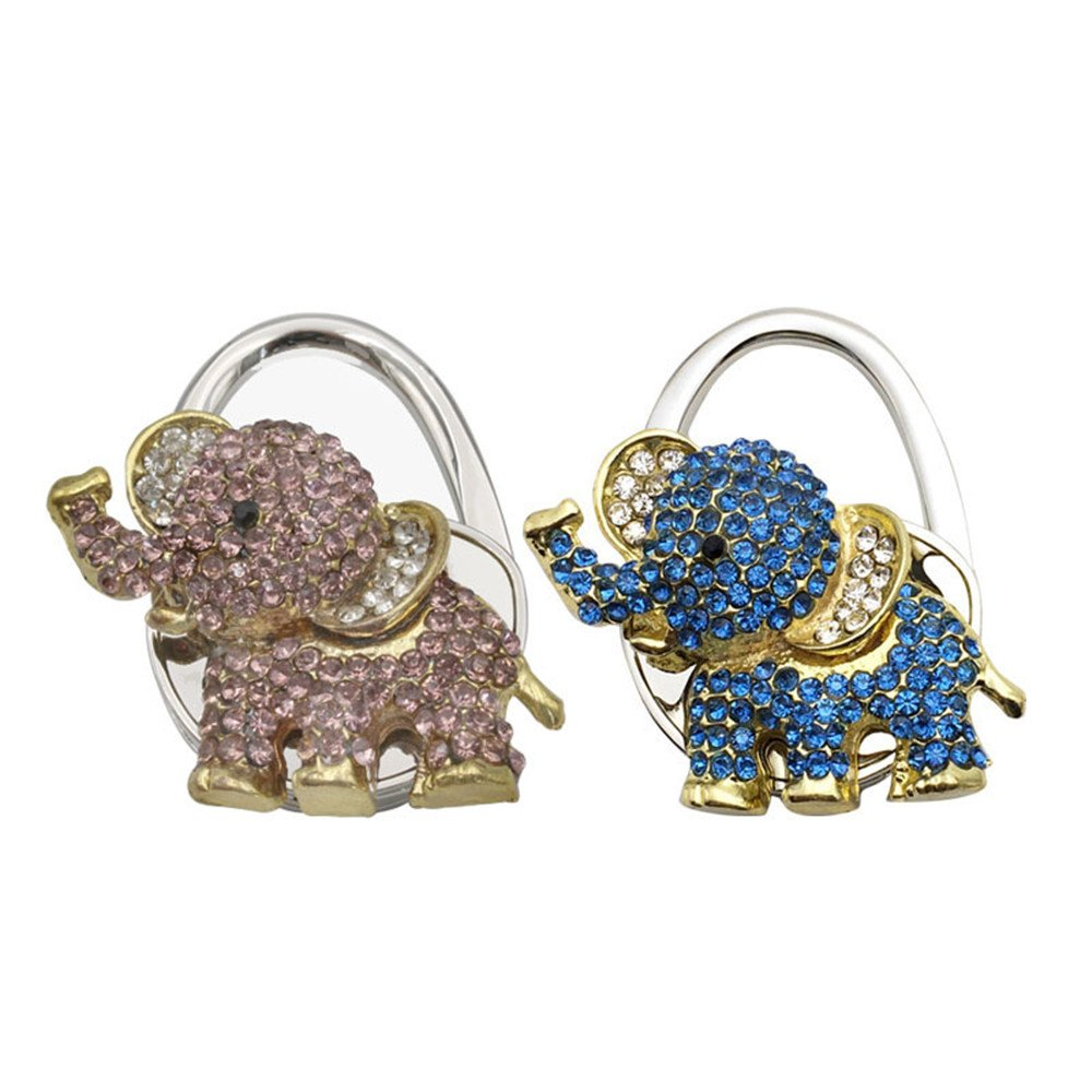 Rhinestone Elephant Shape Foldable Handbag Table Hook Purse Hanger (Pack of 2)