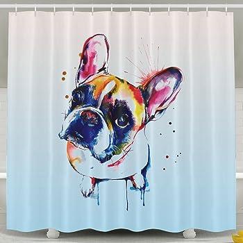 Amazon BESTSC Bath Curtain Cute Funny Watercolor FRENCH BULLDOG