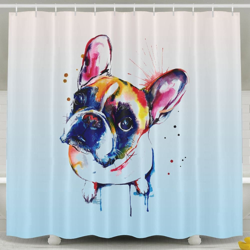 Amazon BESTSC Bath Curtain Cute Funny Watercolor FRENCH BULLDOG Shower Curtains