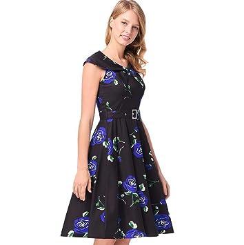Vestido sin mangas de cuello alto de color azul marino de las mujeres Vestido de estilo