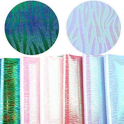 (David accessories Holographic Zebra Pattern Printed Faux Leather Fabric Sheet Mirror Sheet 6 Pcs 8 x 13