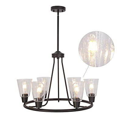 BONLICHT Rustic Indoor Pendant Lighting 6 Light Vintage Retro Round Farmhouse Chandelier with Seedy Glass Shade, Oil -Rubbed Bronze Metal Flush Mount Lighting Fixture for Kitchen Island Dining Room