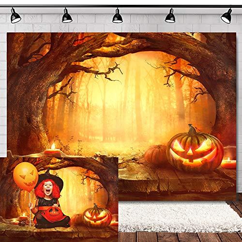 Allenjoy 7x5ft Halloween Backdrop Horror Pumpkin Halloween Party Photo Booth Backdrop Spooky Wood Floor Kids Party Halloween Backdrops for Parties Halloween Photo Backdrop