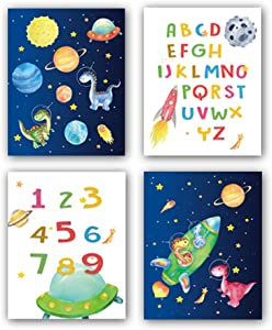 "HPNIUB Outer Space Art Prints, Set of 4 (8""X10""),Alphabet Numbers Canvas Posters,Dinosaur Wall Art Planet Rocket UFO Painting for Nursery ids Bedroom Classroom Decor, No Frames Included"