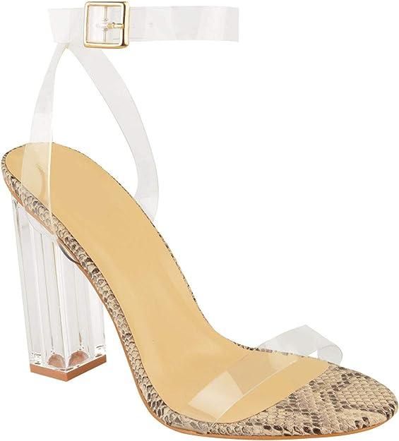 Chaussures femme talons hauts Perspex Hologramme Sandales Femmes Clair Talon Bloc Chaussures fashion