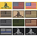 #9: 12 Pieces US Flag Patch Embroidered USA Tactical Flag Tags Patch Military Patch American Flag Patches and Don't Tread On Me Military Morale Patches