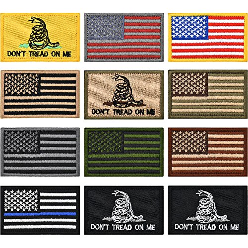 12 Pieces US Flag Patch Embroidered USA Tactical Flag Tags Patch Military Patch American Flag Patches and Don't Tread On Me Military Morale ()