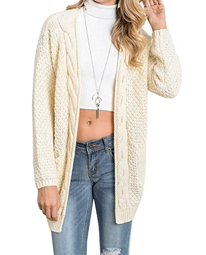 e4f769a68 FISACE Women s Loose Boho Open Front Long Sleeve Chunky Warm Knitwear  Cardigan Sweaters Outerwear with Pocket at Amazon Women s Clothing store