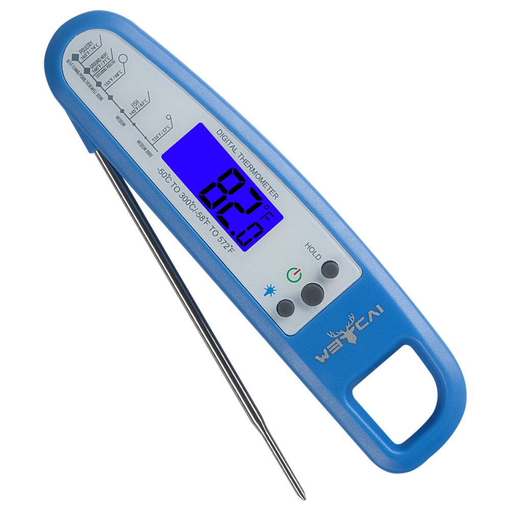 Weicai Instant Read Meat Thermometer - Professional Food Thermometer for Cooking, Grilling, Baking and More (LCD Display, Backlight, Waterproof)