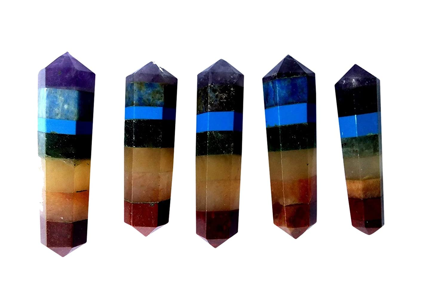 5 Pieces Double Terminated Chakra Crystal Healing Grid Points in Gift Pouch Perfect for Jewelry Making Necklace Wire Wrapping Pendants WholesaleGemShop WSGS-1212