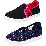 Earton Women's Canvas Combo Of 2 Shoes- 1 Loafer, 1 Sneaker