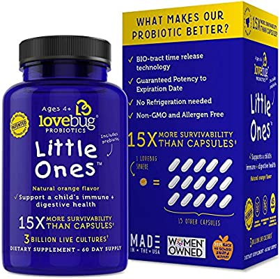 LoveBug Probiotics for Kids - Childrens Probiotic Supplement for Children Ages 4 and Up - 60 Easy-to-Swallow Spheres - Award-Winning Kids Probiotic