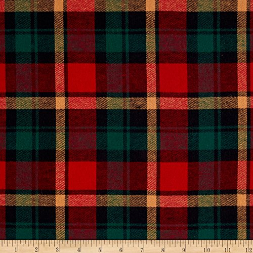 Yarn Dyed Flannel Plaid Wine/Hunter Fabric By The Yard (Red Plaid Fabric Flannel)