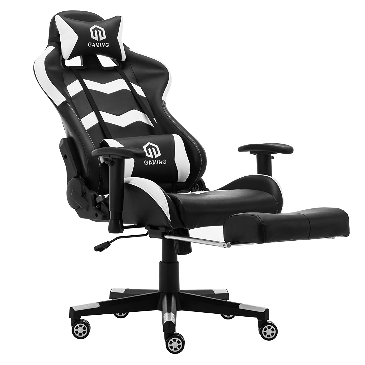 Gaming Chair Racing Office Chair Computer Desk Chair Executive and Ergonomic Reclining Swivel Chair with Headrest, Lumbar Cushion and Retractable Footrest White