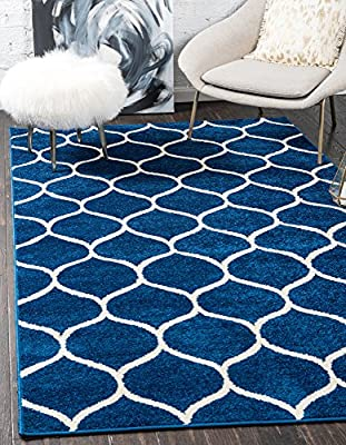 Modern Geometric Trellis Frieze Contemporary Area Rug