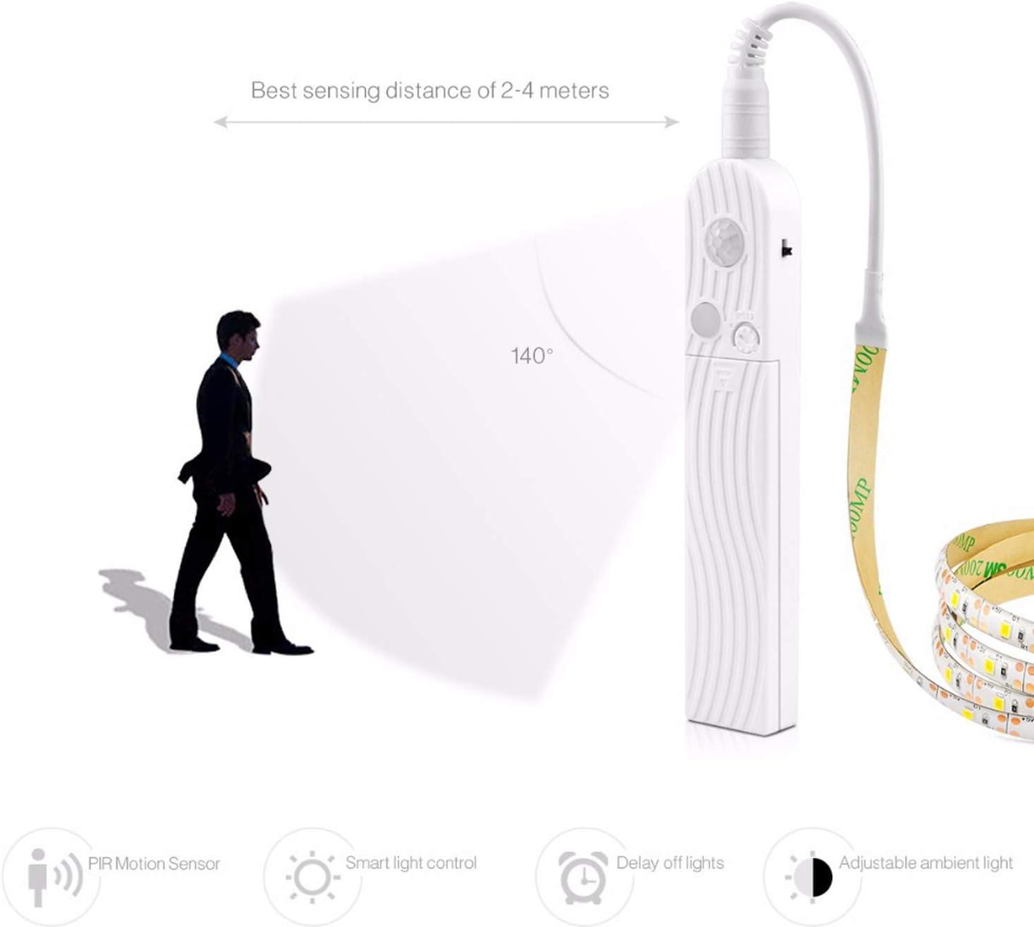 UK PIR Motion Sensor LED Strip Wireless Light Stairs Closet Lamp Battery Powered